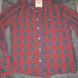 Abercrombie & Fitch Red plaid button down shirt L